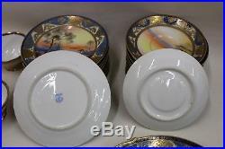 NORITAKE Large 35-Piece China Tea Set Teacup Japanese Floral Royal Gold Blue