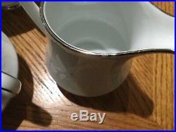 NORITAKE RANIER 6909 CHINA SET 88 PEICES WHITE With SILVER DISHES