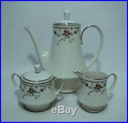 NORITAKE china ADAGIO 7237 pattern Coffee Pot, Creamer & Sugar Bowl with Lid SET