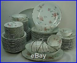 NORITAKE china BOTAN 5853 pattern 89-piece SET SERVICE with 6 Serving Pieces