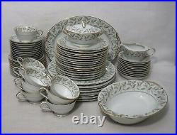 NORITAKE china CAROLE 5402 pattern 68-piece SET SERVICE for 10 + Fruit Bowl