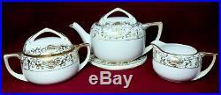 NORITAKE china CHRISTMAS BALL 16034 175 Teapot Tea Tile Creamer & Sugar Bowl SET