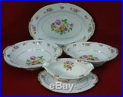 NORITAKE china DRESALA 3033 4-piece HOSTESS SET Oval & Round Bowl Gravy Platter