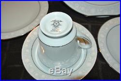 NORITAKE china LOVE SONG 8002 20-piece SET SERVICE 4 Blue Platinum Wedding Veil