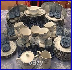 NORITAKE china LRG Set BLUE HILL SERVICE 12 Matching Glasses Accessories 106 Pcs