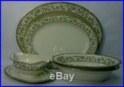 NORITAKE china MIYOSHI pattern 5-piece HOSTESS Set -oval bowl platter gravy boat