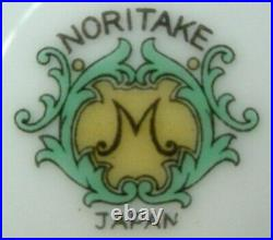 NORITAKE china N1214 FLOWERS with GREEN & YELLOW EDGE Set 7 Dinner Plates 9-7/8