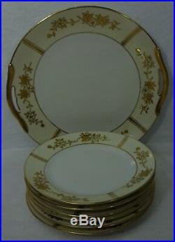 NORITAKE china N1955 GOLD ENCRUSTED CHERRY BLOSSOM 7-piece Cake or Dessert Set