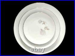 NORITAKE china ROSAY 29 piece Set Gray White Rose Euc