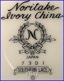 NORITAKE china SOUTHERN LACE 7301 pattern 53-piece SET SERVICE including Serving