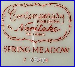 NORITAKE china SPRING MEADOW 2484 pattern 60-pc SET SERICE for TWELVE (12)