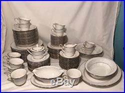 NORITAKE china TRUDY 7087 92-pc SET SERVICE for TWELVE (12) + Serving Dishes