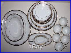 New 34 Pc Set Fr 6 Noritake China Ontario Pink+white Flower Dinnerware+gold Trim
