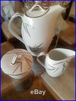 Noritake Bambina Japan China Coffee / Tea Pot Sugar Creamer Set Silver Platinum