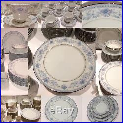 Noritake Blue Hill Dinner Service Set China Plates Bowls Dining Tea cups table