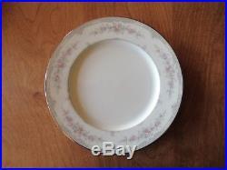 Noritake Bone China Ivory SHENANDOAH 9729 Set of 4 Dinner Plates 10 5/8 Pink B