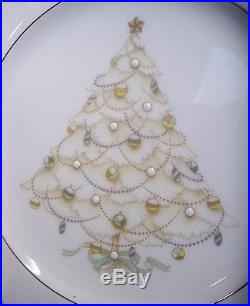 Noritake Bone China Palace Christmas Platinum Salad Plates Set of 4 Made Japan