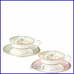 Noritake Bone China Tea And Coffee Yoshino Bowl Dish Pair Set Green Pink Japan