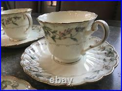 Noritake Brookhollow 4704 Bone China Tea Cup and Saucer 12 Sets 24 Pieces