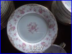 Noritake Charmaine 5506 Fine China 67 pc. Dinner set pink floral mint condition