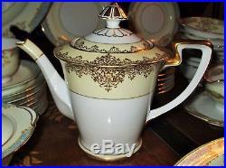 Noritake Chevonia 8 Dinner Service China 67 pc set Gold Teapot Cup Plate Platter
