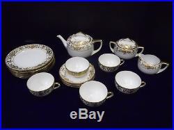 Noritake China 16034 Gold Flowers & Scroll on Cream Tea Set with Plates 16 pcs