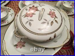 Noritake China #5473 Huge Dinnerware Set 91 Pieces Pink Floral With Gold Trim