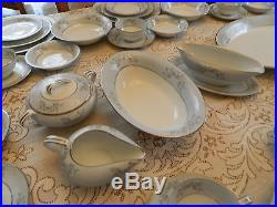 Noritake China #5858 Blueridge Set for 11+ with7 Serving Pieces BW3-2