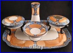 Noritake China Art Deco Luster Ware Vanity Dresser Set, Tray-Jars-Hatpin Holder+