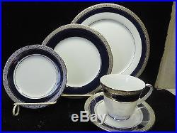 Noritake China Crestwood Cobalt Platinum 20 Piece China Set Service For 4