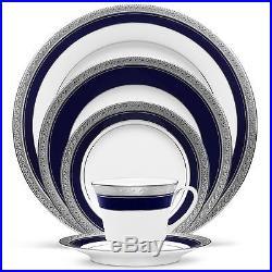 Noritake China Crestwood Cobalt Platinum 60Pc China Set, Service for 12