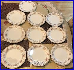 Noritake China Dinner Plates In The Somerset #5317 Pattern, Japan, Set of 10