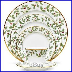 Noritake China Holly and Berry Gold 40 Piece Dinnerware Set, Service for 8 NEW