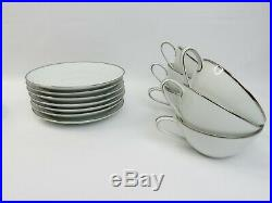 Noritake China Japan White & Platinum 9 Tea Cup set with plates saucer