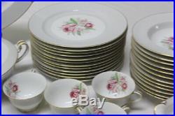 Noritake China Magurita 5049 Dinner Set Gold Border Floral Design Service for 12