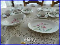 Noritake China Pink Orchid Dinnerware Set for 10 with 7 Serving Pieces 12-3