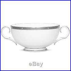 Noritake China Rochelle Platinum Cream Soup Cup Set Of 4
