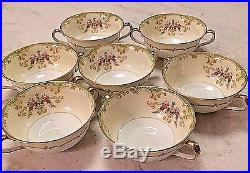 Noritake China Winton Set of 7 Flat Cream Soup Bowl and Saucer Scroll Floral