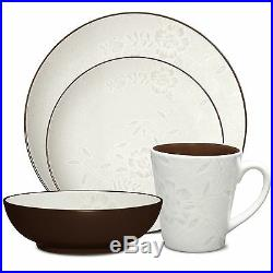 Noritake Colorwave Chocolate Bloom Coupe 32Pc Dinnerware Set, Service for 8