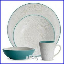 Noritake Colorwave Turquoise Bloom Coupe 48Pc Dinnerware Set, Service for 12
