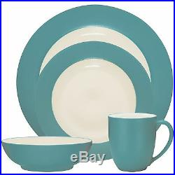 Noritake Colorwave Turquoise Rim 32Pc Dinnerware Set, Service for 8