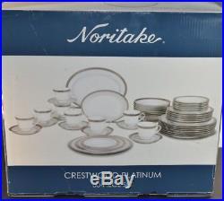 Noritake Crestwood Platinum Bone China Dinnerware 47 pcs Set Porcelain Service