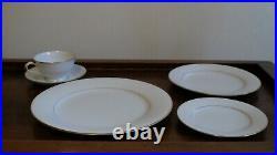 Noritake Fine China GUENEVERE White Scroll #6517 49 Pc (7 full place settings)