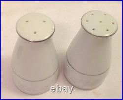 Noritake Fine China Salt & Pepper Shaker Set #2883 White Gray Floral Rim Ec