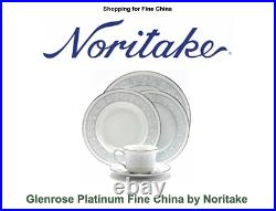 Noritake Glenrose Platinum Fine China 5pc place setting