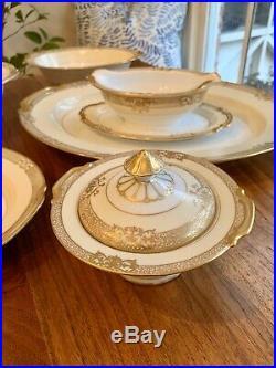Noritake Goldinthia China Hand Painted Gold Ivory Serving Set Platter Tureen Vtg