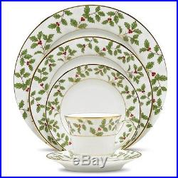Noritake Holly & Berry Gold 60Pc China Set, Service for 12