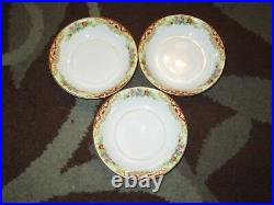 Noritake Imperial China 23-Piece Floral Pattern Set 20 Plates 3 Cups Red/Gold NM