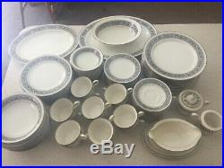 Noritake Ivory China 7570 Prelude 90 Piece Dinnerware Set Japan White Black