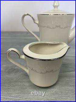 Noritake Ivory China 7571 Irene Tea Coffee Serving Set Teapot Cream Sugar